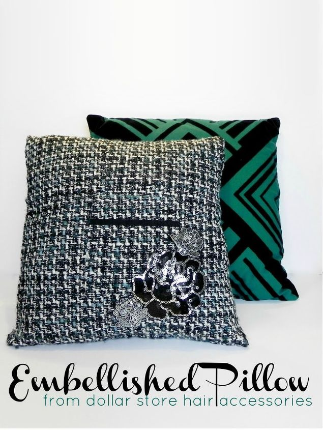 Find out how easy it is to add glamour to your living room!  http://www.madincrafts.com/2013/01/embellished-pillow-from-dollar-store.html