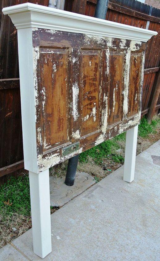 full sized distressed door headboard, painted furniture, repurposing upcycling