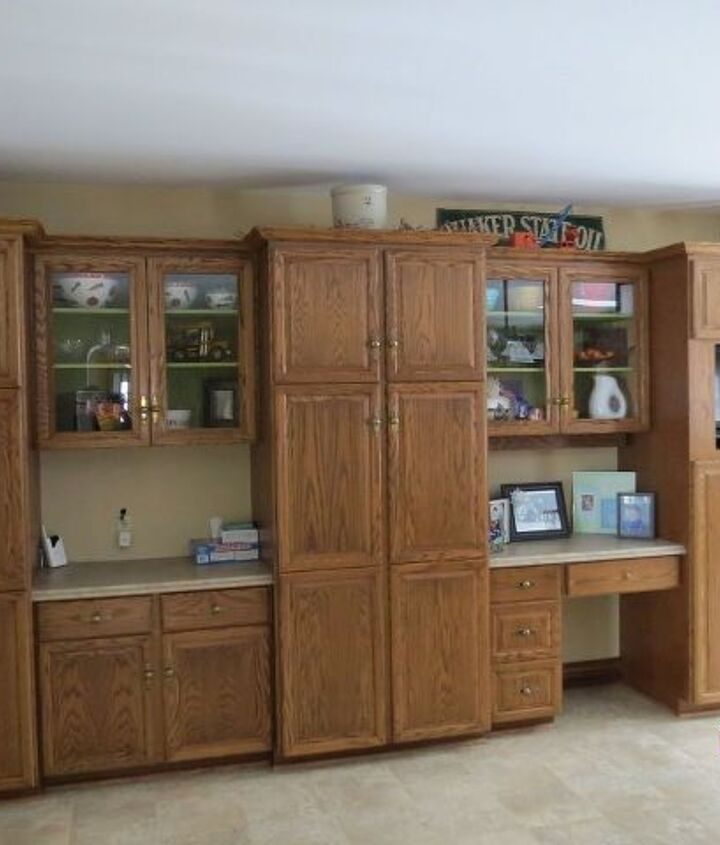 Cabinets on left when you enter the kitchen.