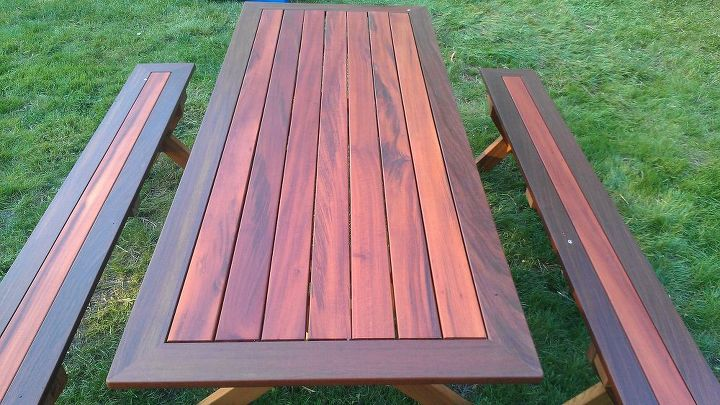 After a final sanding with 320, a final coat of exterior oil is applied and left to dry. This is the finished product.