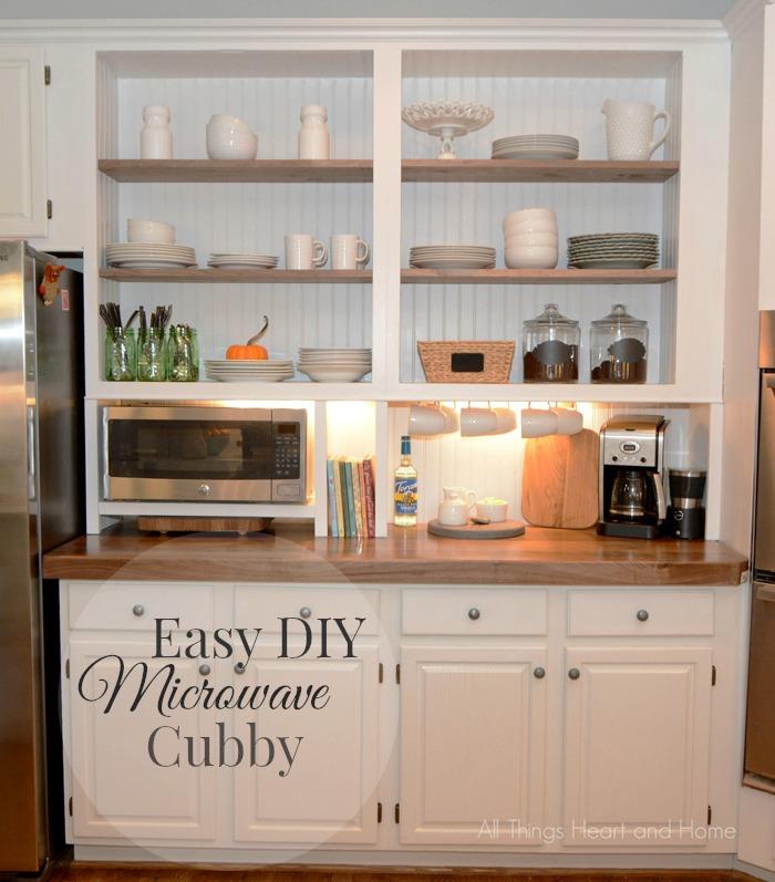 built in cupboard w a microwave cubby hometalk