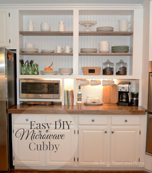 Built in cupboard w a microwave cubby hometalk for Built in kitchen cupboards for a small kitchen