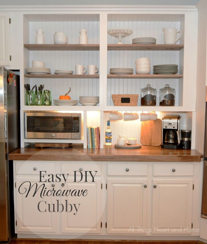 built in cupboard w a microwave cubby, appliances, kitchen cabinets, kitchen design, organizing, storage ideas, woodworking projects