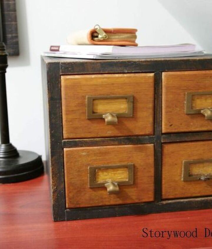 An old card catalog is the perfect storage piece for all his fly-tying supplies.