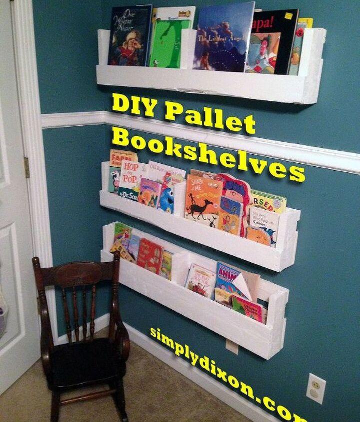 diy pallet bookshelves, pallet, shelving ideas