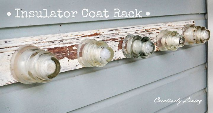 my latest insulator coat rack the shabby version, diy renovations projects, painting, repurposing upcycling