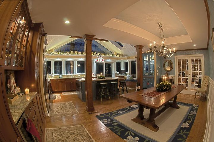 Panoramic View Of New Kitchen And Dinning Room