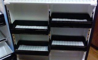 diy reusable refrigerator shelf liner, cleaning tips, shelving ideas, Refrigerator door shelves with vinyl liner