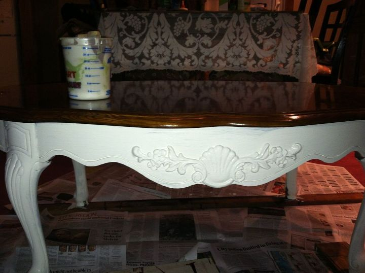 first coat of DYI chalk paint