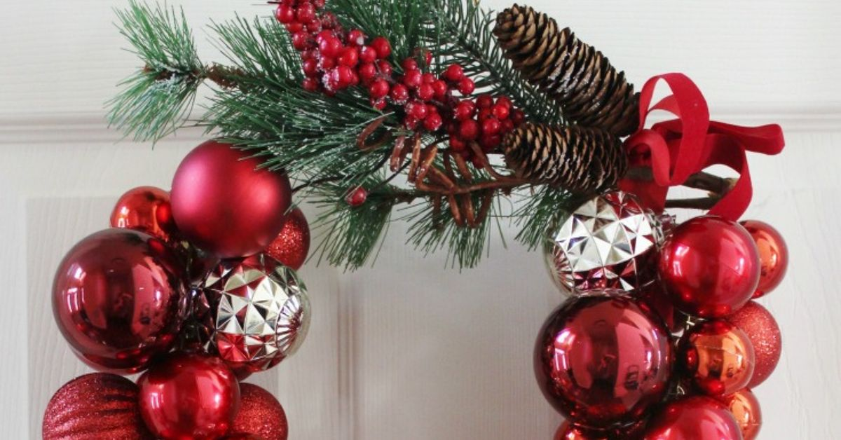 how to make a christmas ornament wreath with a wire hanger hometalk