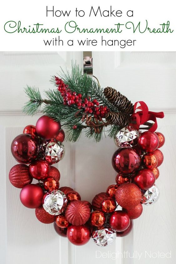 How to make a christmas ornament wreath with a wire hanger hometalk how to make a christmas ornament wreath with a wire hanger christmas decorations crafts solutioingenieria Gallery
