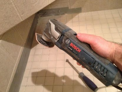 The Bosch Multi Tool And Triangular Grout Removal In This Photo Removed All Shower
