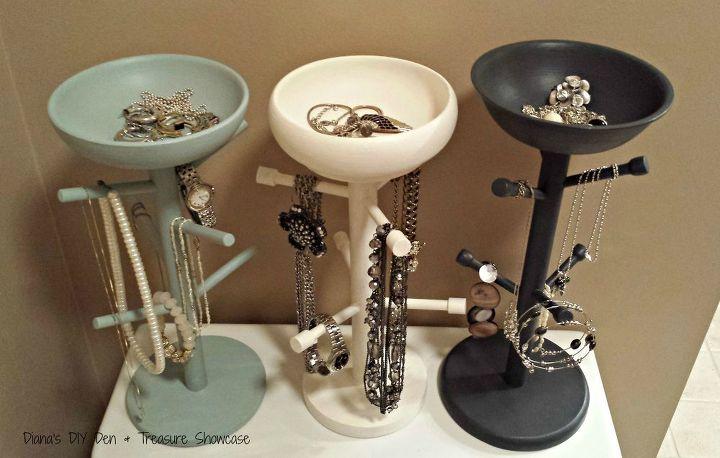 mug tree jewelry holders, chalk paint, organizing, repurposing upcycling, storage ideas
