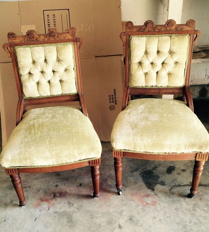 antique parlor chair update, reupholster, Before - Antique Parlor Chair Update Hometalk