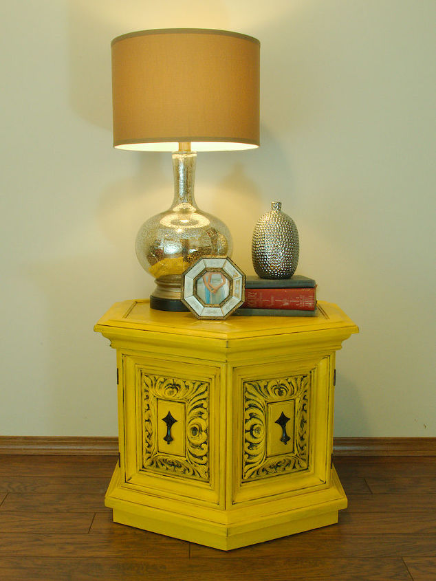 yellow chalkpainted nightstand end table, chalk paint, painted furniture