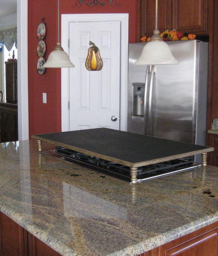 chalkboard server burner cover, diy, kitchen design, kitchen island