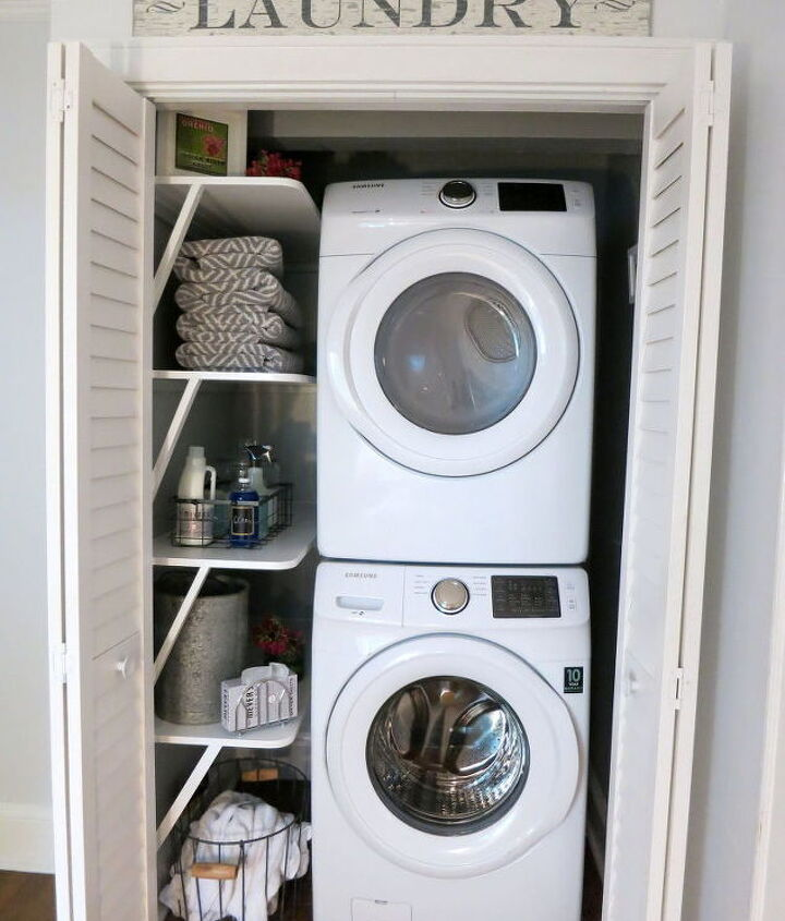 small space solution laundry closet makeover, closet