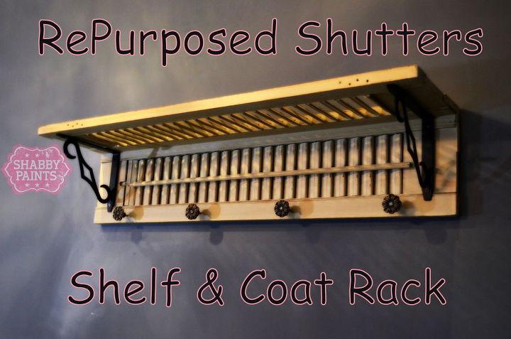 repurposed shutters to coat rack, chalk paint, diy, painted furniture, repurposing upcycling