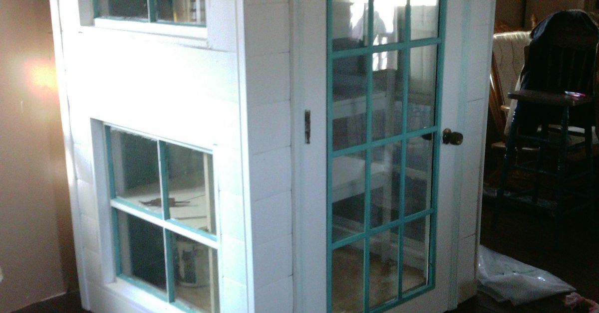 DIY Cabinet Pantry From Old Doors And Windoors