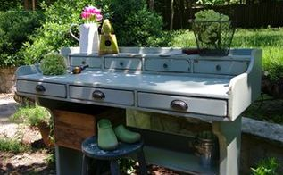 the perfect piece for a porch, flowers, gardening, outdoor furniture, painted furniture, repurposing upcycling, A smoky blue color updated the worn pine wood Lots of ledges and drawers give plenty of space for storage