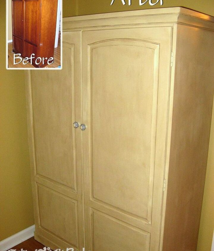 Cherry wood cabinet that had the door broken off during a move. The paint now covers all the damage and makes it like new.