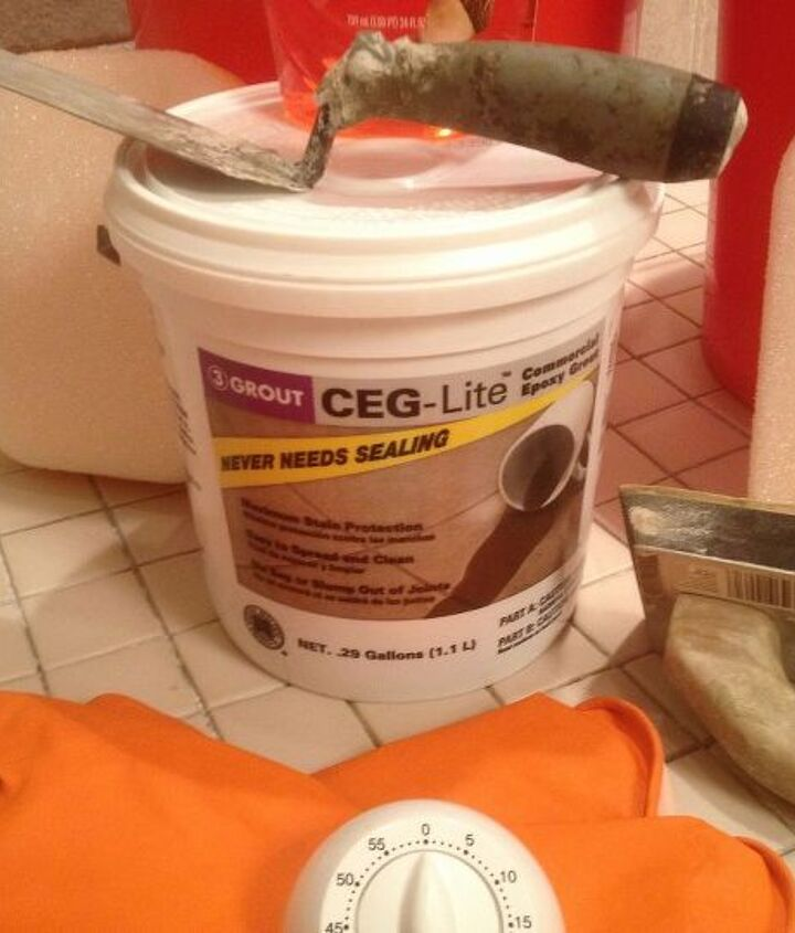 CEG Lite is the epoxy grout I used and it can be found at Home Depot for about $24 per bucket.