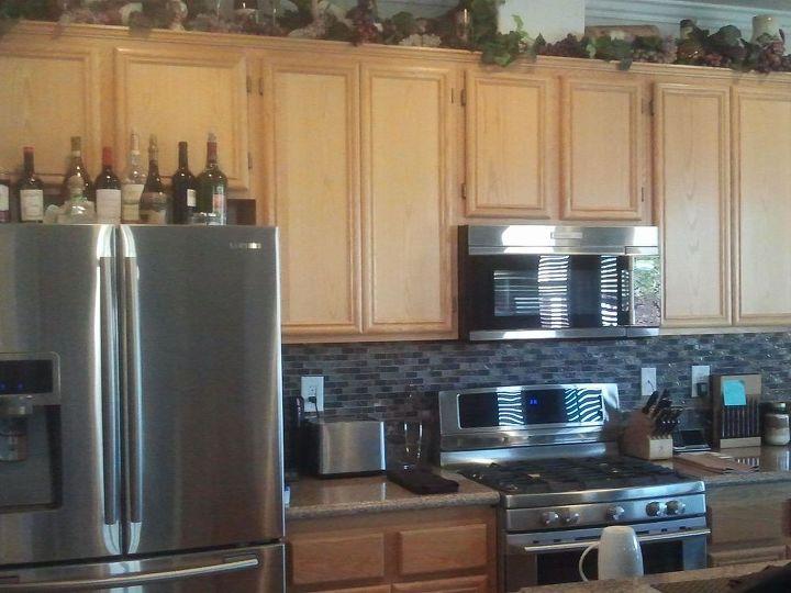 Kitchen cabinet redo hometalk - Builder grade oak kitchen cabinets ...