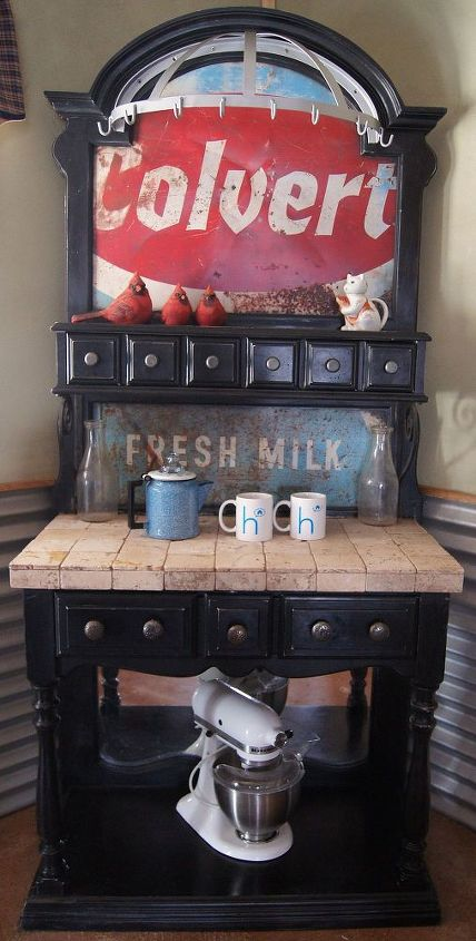 Coffee Station makeover using repurposed materials.