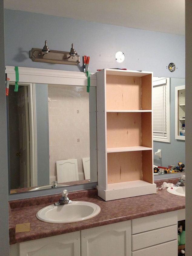 large bathroom mirror redo to double framed mirrors and cabinet, bathroom ideas, home decor