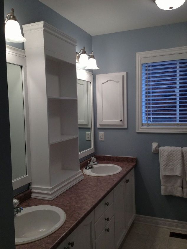 large bathroom mirror redo to double framed mirrors and cabinet, bathroom ideas, home decor, shelving ideas, NOTE the cabinet was not from the counter top up it was actually started at the back splash just because the back splash is beveled and it just made it easier to start with something flat and dress and trim the bottom