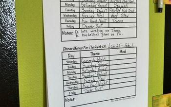 dinner menu planning idea, organizing