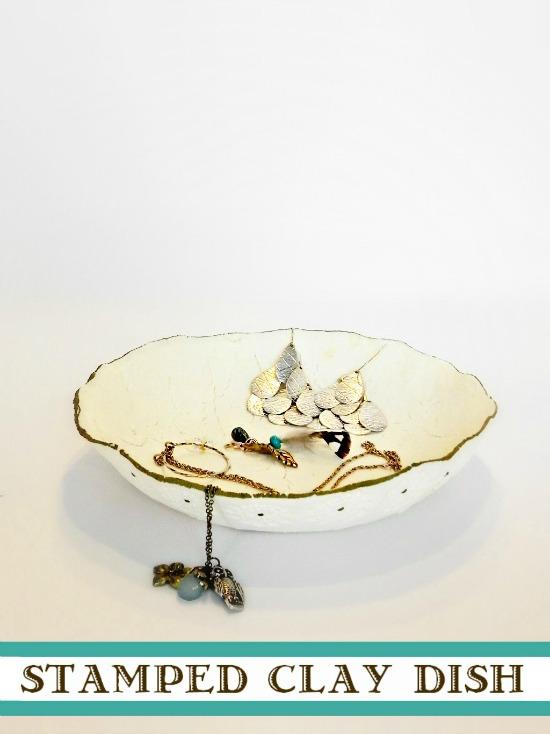 DIY Stamped Clay Jewelry Dish  http://www.madincrafts.com/2013/02/diy-stamped-clay-dish.html