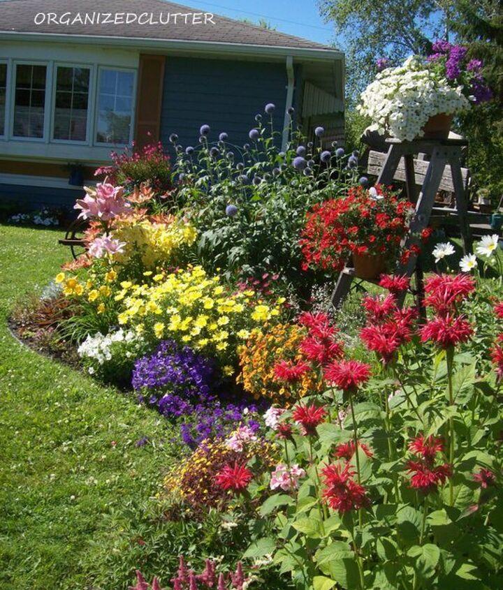 A mix of perennials, annuals and junk.