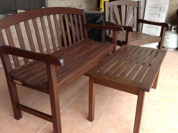 Finished furniture - there is a bench, 2 chairs and a table. Still one chair to go sadly...