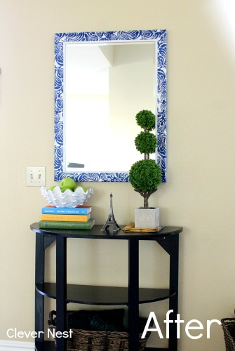 """I love my """"new"""" mirror! Made with Mod Podge and Target napkins! http://www.myclevernest.com/2013/02/decoupaged-mirror-with-napkins-winner.html"""