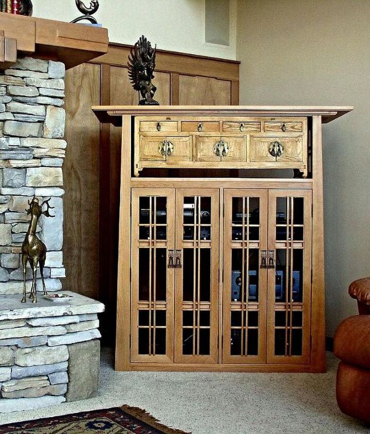 Beech Media Cabinet with an Oriental Chest and Mackintosh Door Pulls