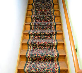 Painted Staircase Bare Wood Runner, Painting, Stairs, Old Carpet Runner  Before
