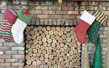 Birch Log Fireplace Screen