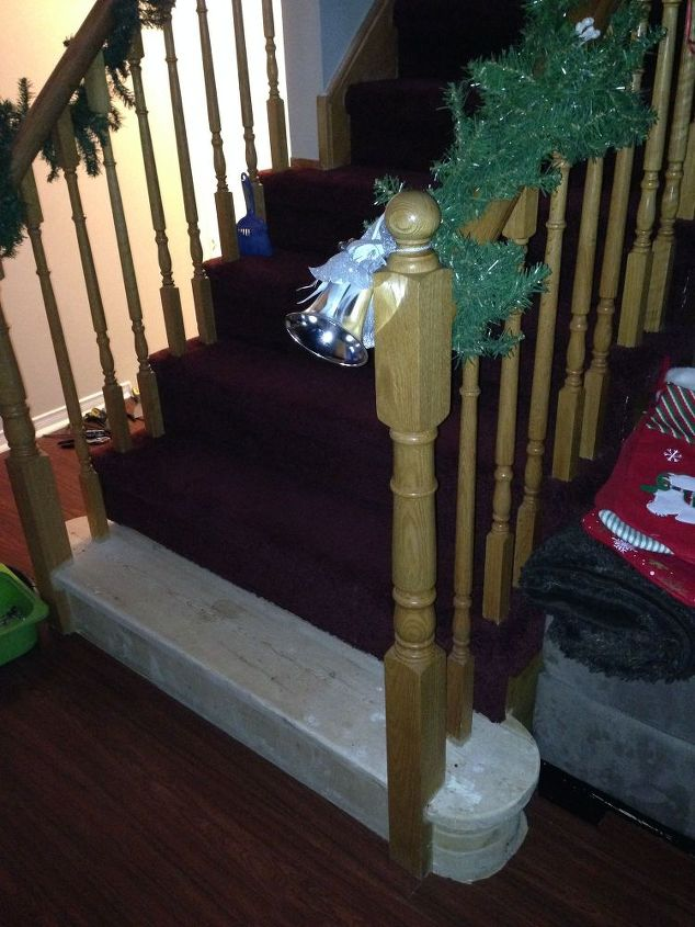 q refinishing wooden stairs after removing carpet, hardwood floors, painting, stairs, reupholster, Main staircase to upstairs
