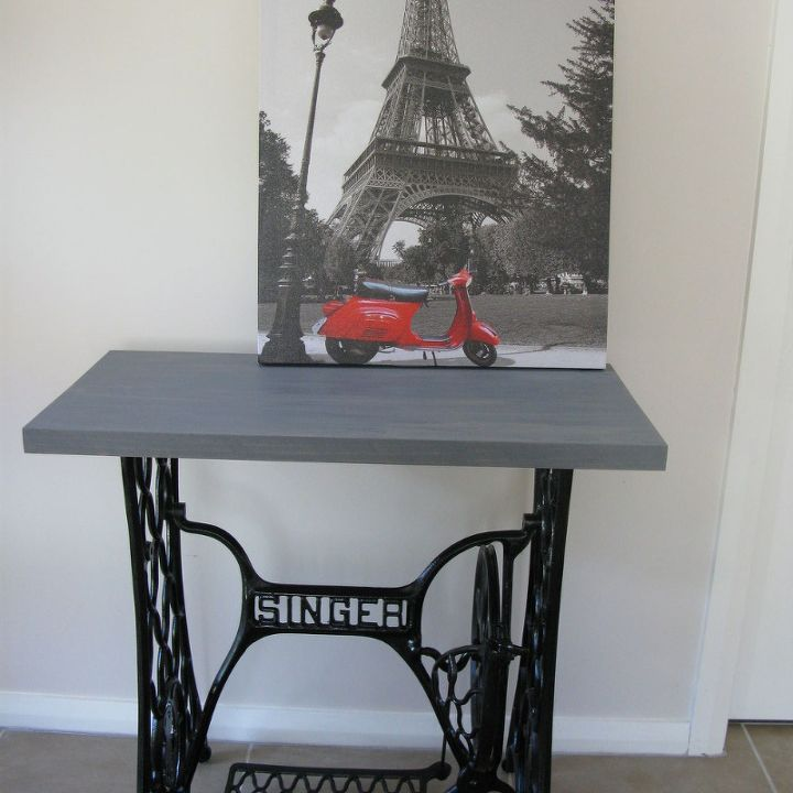 singer sewing machine cabinet makeover to hall table, kitchen cabinets, kitchen design, painted furniture