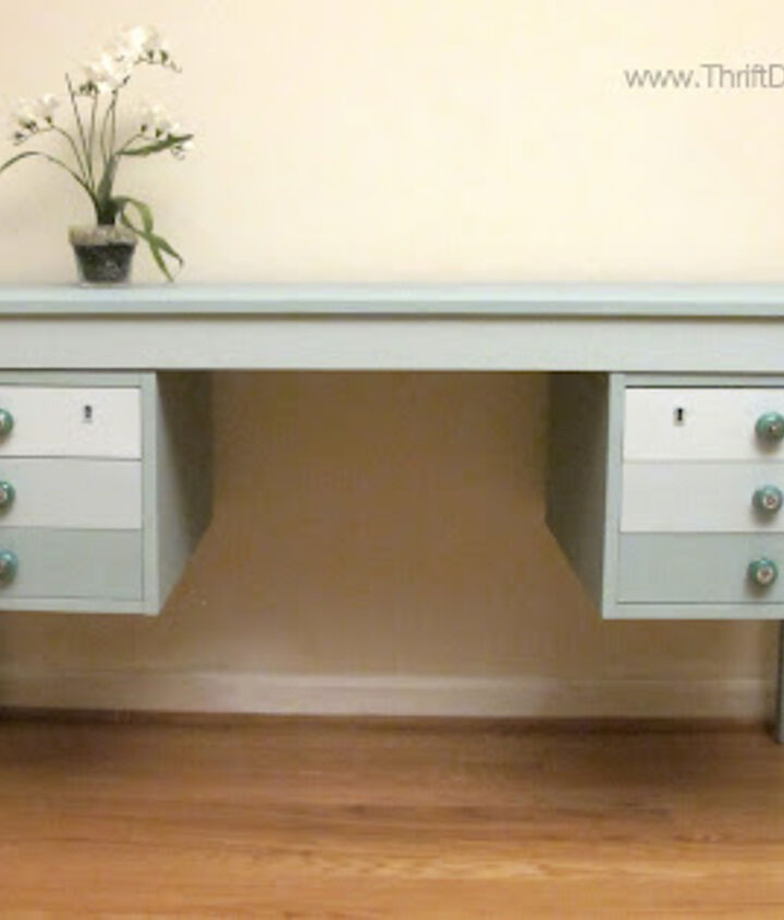 This desk had been found next to a dumpster, until I saved it and gave it this face lift! I used Annie Sloan Duck Egg, mixed with Pure White to produce the ombre effect on the drawers.