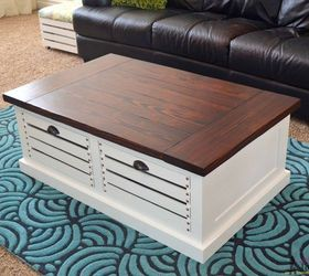 coffee table with crate storage drawers and stools home decor organizing painted furniture & Coffee Table With Crate Storage Drawers and Stools | Hometalk