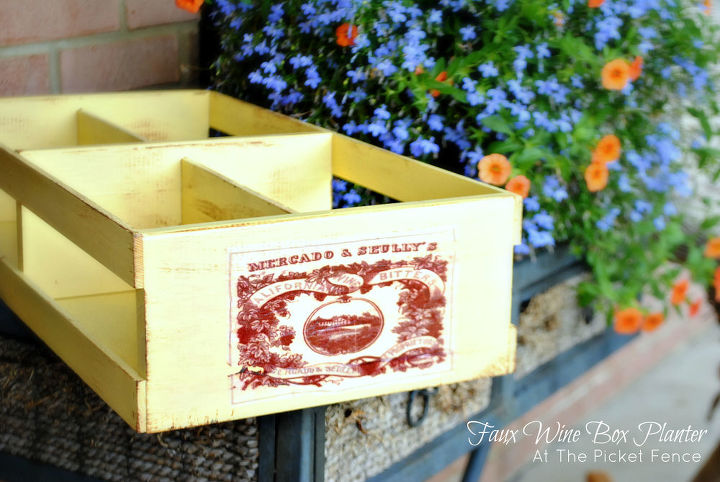 How to create a Faux Wine Box Planter from a Goodwill find.