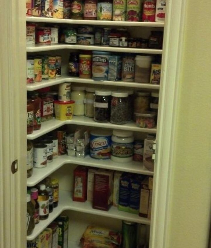 I can see everything! We did add one more shelf up high a little later. And the bottom shelf is about 8 inches from the floor, so I can clean!