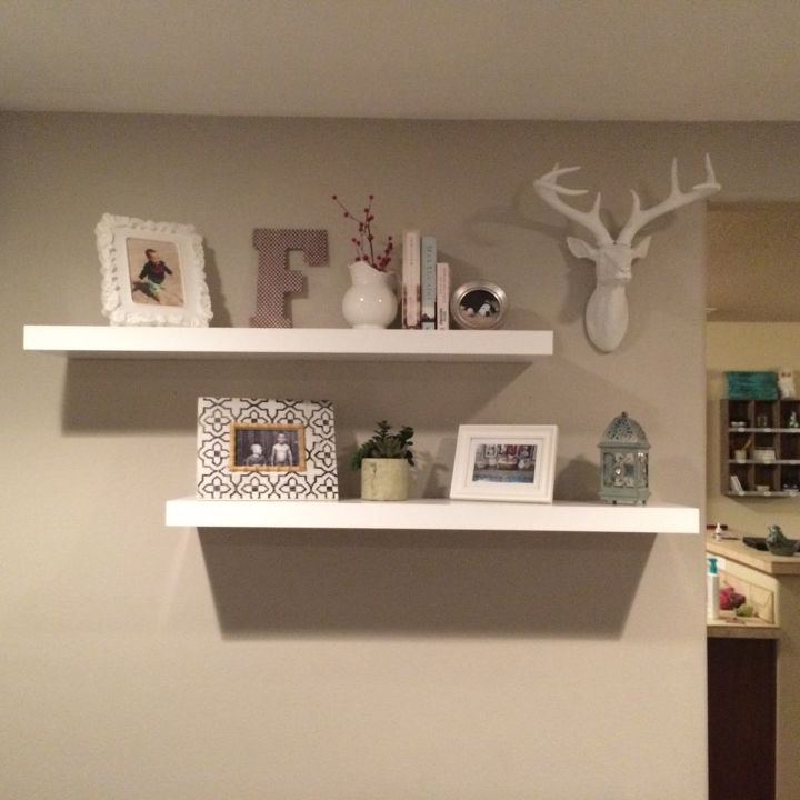 q rustic decor for floating shelves, home decor, shelving ideas, wall decor