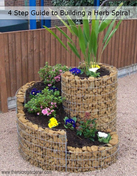 A compact herb spiral with stone filled gabion walls.