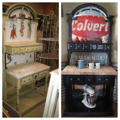 bakers rack turned coffee station, painted furniture, repurposing upcycling, Before and After Photo