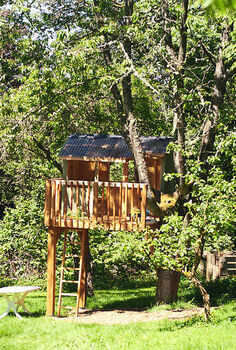 building a treehouse, diy, how to, outdoor living, woodworking projects, The treehouse front view