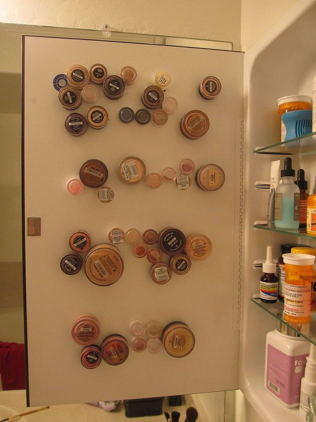 mineral makeup storage on my medicine cabinet, cleaning tips