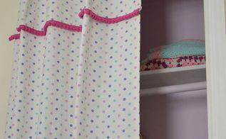 layered pom pom trim curtain, crafts